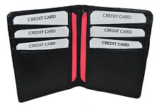 Black Mens GENUINE LEATHER Bifold  Thin Wallet Credit 6 Card Case Front Pocket