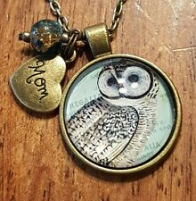 ♡ OWL NECKLACE  ♡ BIRTHDAY GIFT  ♡ VINTAGE STYLE ♡ MOM HEART CHARM ♡