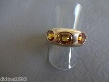 ANNEAU BAGUE PLAQUE OR PIERRE ORANGE AMBRE FEMME FILLE RING GOLD PLATED T 59