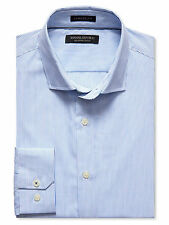 Banana Republic Men's Camden-Fit Blue Micro-Stripe 120s Supima Cotton Shirt Sz M