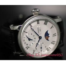 Parnis 42mm GMT moon phase white dial hand winding movement men's watch