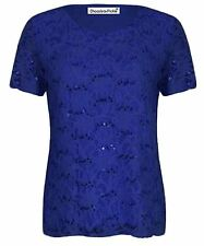 Ladies Plus Size Cap Sleeve Sequin Lace Lined Floral Lace Tunic Tops 12-26