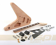 Solid Body DIY Electric Guitar Builder Kit with Mahogany Unfinished New