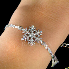 w Swarovski Crystal Christmas Snowflake Snow Flake Holiday Winter Chain Bracelet