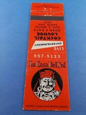 LA CASA DEL SOL MEXICAN FOOD RESTAURANT COCKTAIL SANTA ANA CA MATCHBOOK VINTAGE
