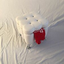 WHITE VANITY FOOT STOOL CHROME LEGS FAUX LEATHER DIAMOND WITH STORAGE A2131