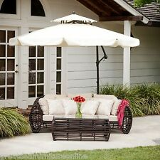 Modern Outdoor Patio Beige Cantilever Umbrella Canopy w/ Base