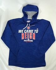 NEW Mens Medium Majestic Chicago Cubs 2016 Postseason Came to Reign Hoodie