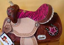 "13"" Western Barrel R Show Youth PONY Saddle DOUBLE T Stars Horse show Pink Zebra"