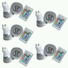 5 FARETTO LED RGB 3 W 220V GU10  MULTICOLOR CROMOTERAPIA CON TELECOMANDO