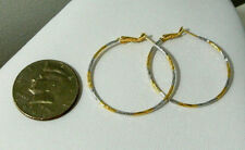 Yellow Gold Earrings White Hoop 1.5 Inch Womens Girls 9k No Stone 2 Toned