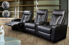 Director Theater Seating - 3 Black Leather Chairs by Coaster