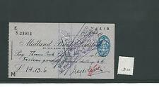 wbc. - CHEQUE - CH180 - USED -1940's - MIDLAND BANK, OLD BOND ST. LONDON W1