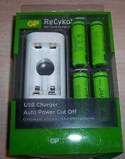 GP ReCyko Rechargeable AA USB Battery Charger with 4 AA batteries BRAND NEW!