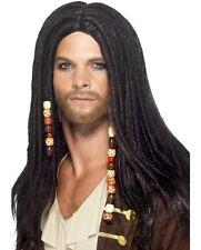 Vestido De Lujo para Hombre Pirata De La Peluca Negra Con Cuentas Nuevo por Smiffys