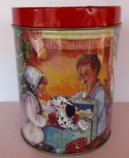 "Vintage 1980's Round Christmas Candy Gift Tin KIDS TREE PUPPY 5"" Tall x 4"" Diam"