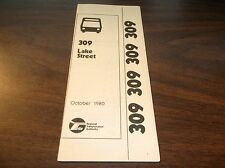 OCTOBER 1980 CHICAGO RTA ROUTE 309 LAKE STREET SERVICE BUS SCHEDULE