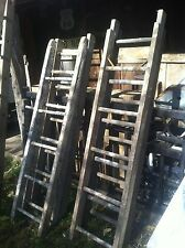 Vtg Antique Wood Ladder 5FT Rustic Flowers Pots Pans Quilts primitive decor