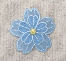 Iron On Embroidered Applique Patch Light Blue Organza Layered Flower 153650A