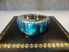 Ladies Contemporary Black Opal Ring sz 9 Sterling Silver 925 Pyramid 7 stones