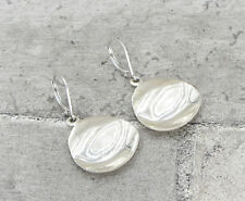 925 Sterling Silver - Vintage Antique Finish Hammered Drop Earrings 6g