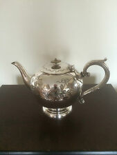 BEAUTIFUL FOOTED SILVER PLATED HIGHLY DECORATED TEAPOT (D & A) Ref 8481