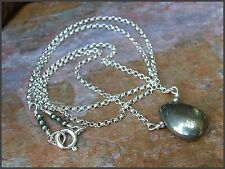 *PI*AAA Natural SMOOTH PYRITE BRIOLETTE .925 Sterling Silver ROLO Neck! SUNDANCE