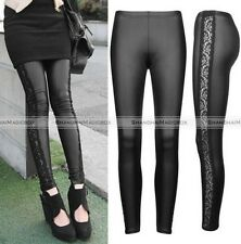 Women Sexy Wet Look Shiny Lace Leggings Black