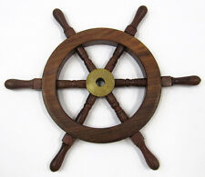 "Ship's Steering Wheel 12"" Wooden Hub w/ Brass Cap Maritime Wall Decor"