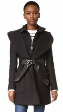 $690 XS Mackage Siri Black Wool Blend Leather Belt Wrap Womens Coat Brand NEW