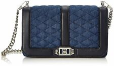 REBECCA MINKOFF $275 DENIM LEATHER TRIM LOVE CROSSBODY HANDBAG BAG