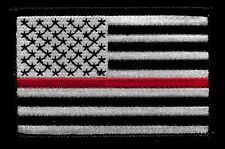 Thin Red Line Black & Silver USA American Flag Fire Fighter Firefighting Patch