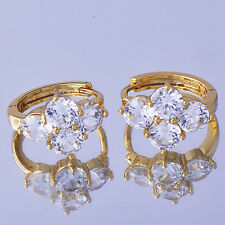 Brilliant Womens Hoop Earrings Clear Crystal CZ Yellow Gold Filled