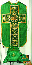 Green Chasuble Fiddleback Latin Mass Set Gold Embroider+Veil,Maniple,Stole,Burse