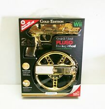 New Nintendo Wii Quick Shot Plus + Racing Wheel Gold Nintendo Wii - Wii U