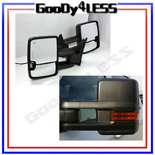 88-98 Chevy GMC C/K Towing Black MANUAL Mirrors W/LED Signals Backup Lamps