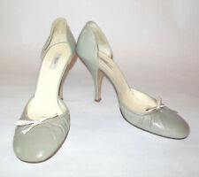 PRADA WOMENS SHOE PEWTER GRAY ROUND TOE PUMP WITH BOW SIZE 37.5