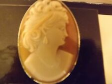 Vintage Art Noveau Shell Cameo Silver Brooch, Possibly French