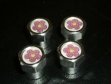 GIRLY PINK FLOWER ALLOY CAR  TYRE VALVE CAPS FOR ALL CARS