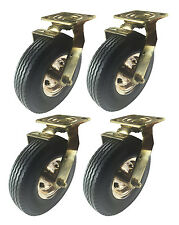 "8"" x 2-1/2"" Pneumatic Wheel Brass Caster (Foam-Flat Free) - 4 Swivels with Brake"