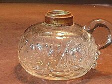 Rare Antique Victorian Finger Oil Lamp In The Pyramid & Palm Pattern Circa 1860