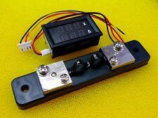 [DC 0V-100V] 30A Dual 2In1 LED Digital Ammeter Voltmeter AMP Meter R&B w/Shunt