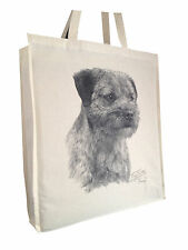 Border Terrier (b) Cotton Shopping Bag with Gusset and Long Handles Perfect Gift