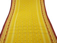 Vintage Indian Sari Pure Cotton Woven Fabric Craft Art Sarong Yellow Sari 5YD