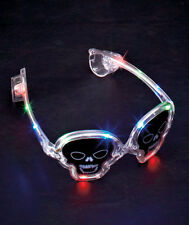 SKULLS HALLOWEEN GLASSES~RED, BLUE, GREEN LED LIGHTS ~ STEADY OR BLINKING ~COOL!