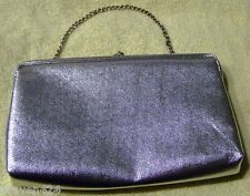WOMENS VINTAGE METALLIC SILVER CLUTCH BAG WITH CHAIN HANDLE