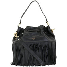 Fossil Black Leather Fringe Drawstring Satchel Ladies Handbag ZB6791001