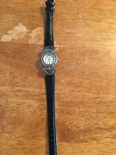 NOVELLA Black Leather Band Ladies WATCH Working Quartz New Battery Resists Water