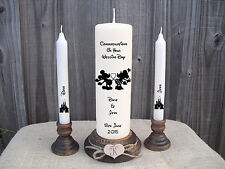 Personalised Wedding Unity Candle Set Disney Mickey & Minnie Mouse Gift Keepsake