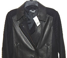 VINCE WOMENS MOTORCYCLE LEATHER/WOOL JACKET sz M NEW$895 AUTHENTIC